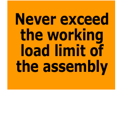 Never exceed the working load limit of the assembly